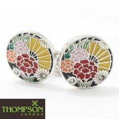 【Thompson London】スワロフスキーと扇子・花の和柄カフス(カフリンクス/カフスボタン)