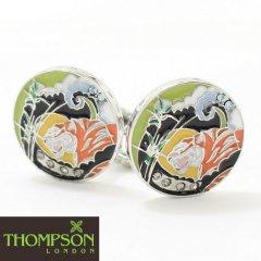 【Thompson London】スワロフスキーと虎の和柄カフス(カフリンクス/カフスボタン)