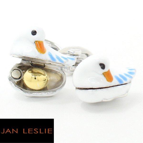 【JanLeslie】黄金の卵を秘めたアヒルのカフス(カフリンクス/カフスボタン)