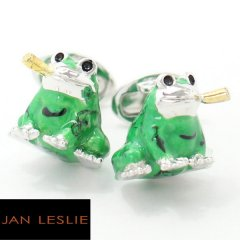 【JanLeslie】パイプをくわえた蛙・緑カエルのカフス(カフリンクス/カフスボタン)
