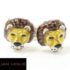 【JanLeslie】マザーオブパールの牙が光る王者ライオンのカフス(カフリンクス/カフスボタン)
