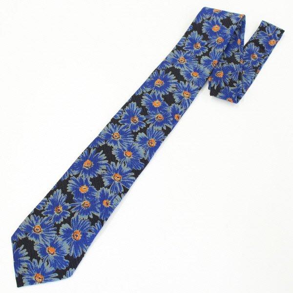 面白ネクタイ・ブルーベースのフラワーネクタイ