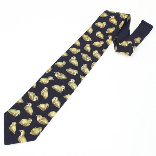 面白ネクタイ・ブラック×キュートなカルガモのネクタイ