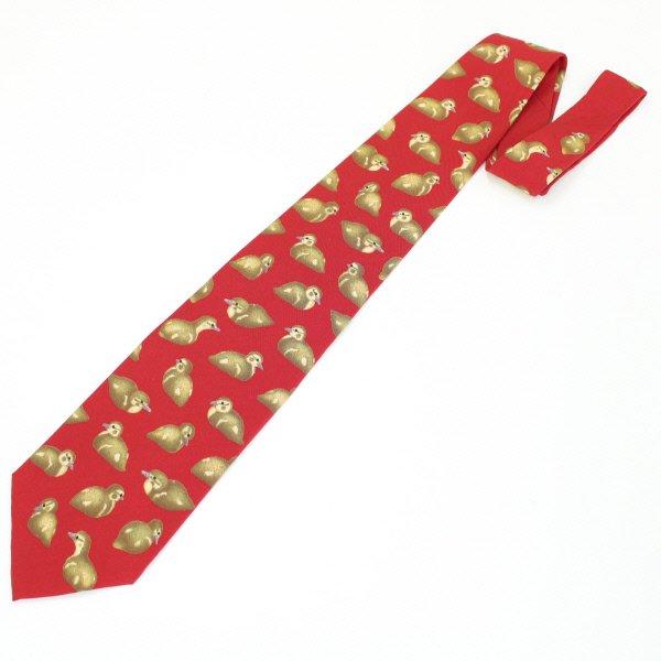 面白ネクタイ・レッド×キュートなカルガモのネクタイ