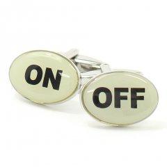 切り替え上手なあなたに・オンオフの文字カフス(カフリンクス/カフスボタン)