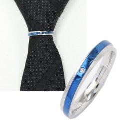 ネクタイリング・メタリックブルーライン×シルバー・一粒ストーンのタイリング(スカーフリング)