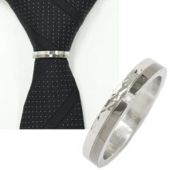 ネクタイリング・メタリックブラック×ダイヤエッジ・きらめくタイリング(スカーフリング)