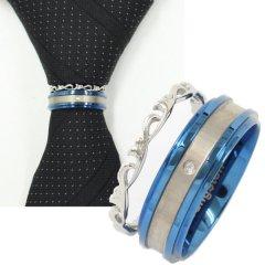 ネクタイリング・ブルーライン×ロカイユ・一粒ストーンの2本のタイリング(スカーフリング)