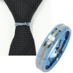 ネクタイリング・ブルーのダブルライン・一粒ストーンのタイリング (スカーフリング)