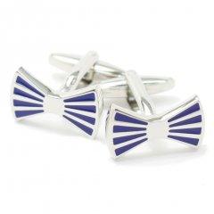 蝶ネクタイみたいなブルーラインのリボンカフス(カフリンクス/カフスボタン)