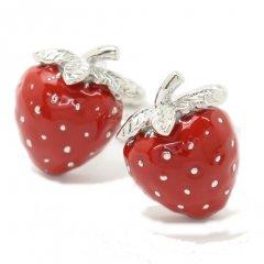 真っ赤に熟した可愛いイチゴのカフス(カフリンクス/カフスボタン)