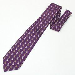全3色・パープル・おしゃれ猫の西陣織ネクタイ
