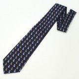 全3色・ネイビー×ブルーおしゃれ猫の西陣織ネクタイ