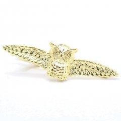 ゴールド・翼を広げたフクロウのタイピン(ネクタイピン)