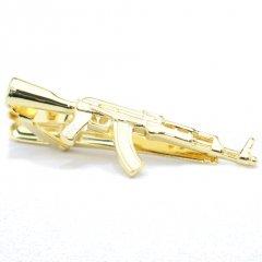 ゴールド・お喋り好きさんにマシンガン銃のタイピン(ネクタイピン)