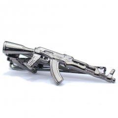 メタリック・お喋り好きさんにマシンガン銃のタイピン(ネクタイピン)