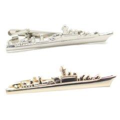 戦艦 船 ゴールド シルバー タイピン(ネクタイピン)