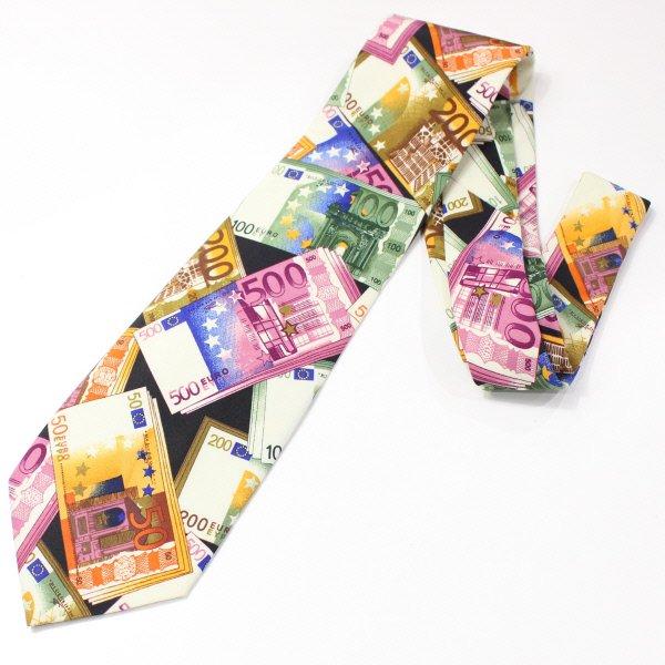 面白ネクタイ・ヨーロッパ・ユーロ紙幣のユニークネクタイ