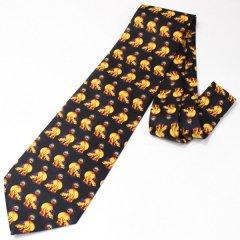 全2色・面白ネクタイ・体重計に!?・カバ・ブラックのユニークネクタイ