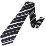 全3色・ブラック×ホワイト・レジメンタルストライプの西陣織ネクタイ