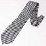 全3色・ホワイト×ブラック・細レジメンタルストライプの西陣織ネクタイ