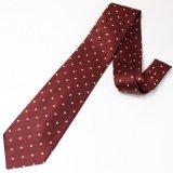 Medium水玉模様・レッド×イエローの西陣織ネクタイ