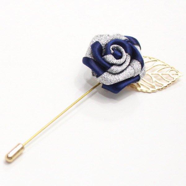 華やかな薔薇・ブルー×シルバーのラペルピン(ピンブローチ)