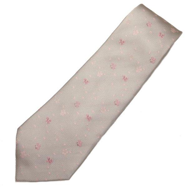 【富士桜工房】グレー・桜吹雪・日本製シルクジャカードの和風ネクタイ