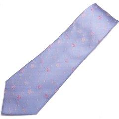 【富士桜工房】水色・桜吹雪・日本製シルクジャカードの和風ネクタイ
