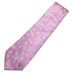 【富士桜工房】桜色・桜花・日本製シルクジャカードの和風ネクタイ