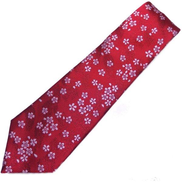 【富士桜工房】真紅・桜花・日本製シルクジャカードの和風ネクタイ