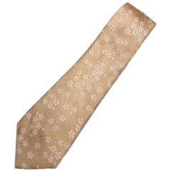 【富士桜工房】薄柿色・桜花・日本製シルクジャカードの和風ネクタイ