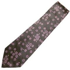 【富士桜工房】鼠・桜花・日本製シルクジャカードの和風ネクタイ