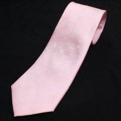 【富士桜工房】桃色・桜吹雪・日本製シルクジャカードの和風ネクタイ