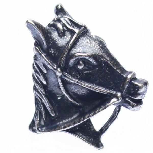 馬の横顔・シルバーのラペルピン・ブローチ(タイタック)