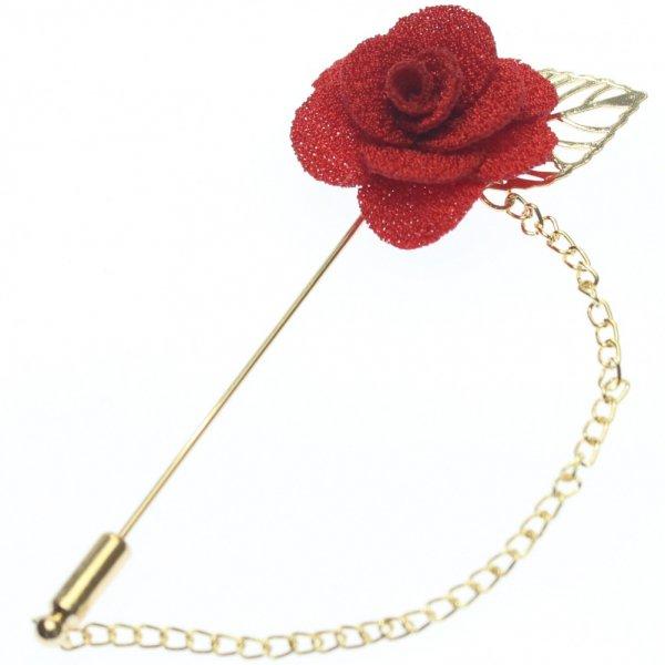 華やかな薔薇・レッドのラペルピン(ピンブローチ)