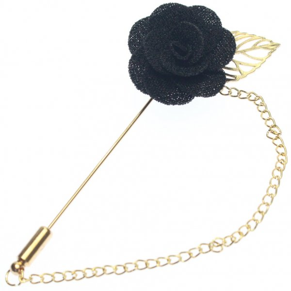 華やかな薔薇・ブラックのラペルピン(ピンブローチ)
