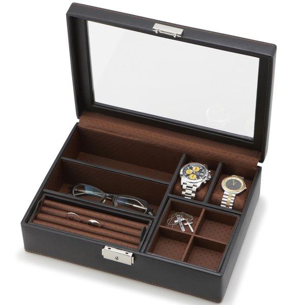 カフス・タイピン・時計・眼鏡・サングラス・指輪・ブレスレット、、、各種メンズアクセサリーも収納上手なメンズボック…