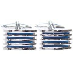 程よい重圧感のシルバー×ライトブルー・ストライプカフス(カフリンクス/カフスボタン)