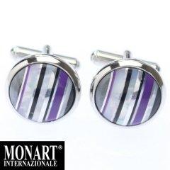 【MONART】ラウンド・マルチストライプ・パールのカフス(カフリンクス/カフスボタン)