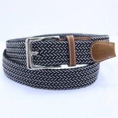 メッシュベルト・ミックス・黒×白・着け心地抜群なゴム素材伸縮タイプ・フリーサイズ