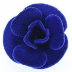 薔薇・ブルー・フェルトのラペルピン・ブローチ
