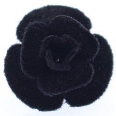 薔薇・ブラック・フェルトのラペルピン・ブローチ