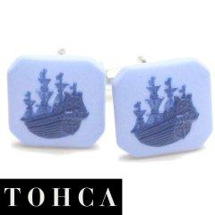 【陶華・TOHCA】ブルー・帆船カメオ・シルバー・スクウェアのカフス(カフリンクス/カフスボタン)