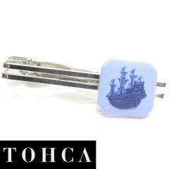 【陶華・TOHCA】ブルー・帆船カメオ・シルバー・スクウェアのタイピン(ネクタイピン)
