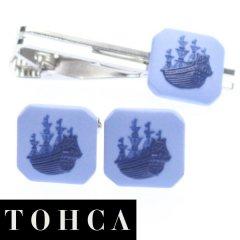 【陶華・TOHCA】ブルー・帆船カメオ・シルバー・スクウェアのカフスセット(タイピンセット)
