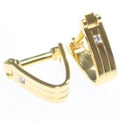 ゴールド・ベルトストラップ・ラップアラウンド・一粒ストーンのカフス(カフリンクス/カフスボタン)