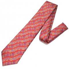 赤・音楽好きさんに音符だらけのカラフルな刺繍柄面白ネクタイ