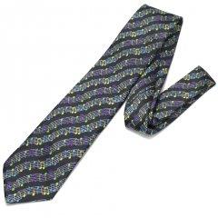 黒・音楽好きさんに音符だらけのカラフルな刺繍柄面白ネクタイ