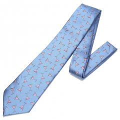 水色・思わずもう一杯!飲みたくなりますカクテルの刺繍柄面白ネクタイ